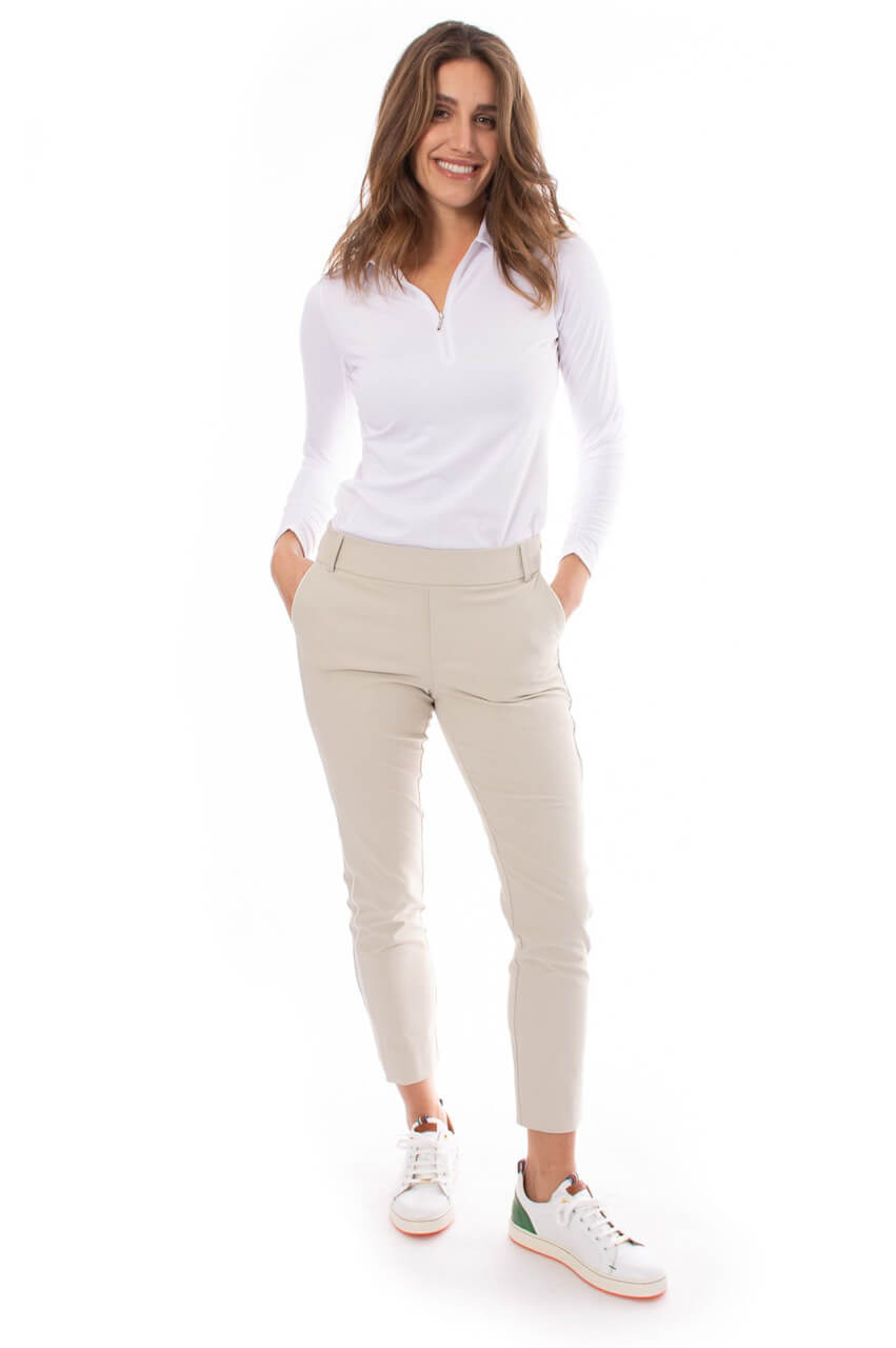 Khaki with White Piping Pull-On Stretch Ankle Pant