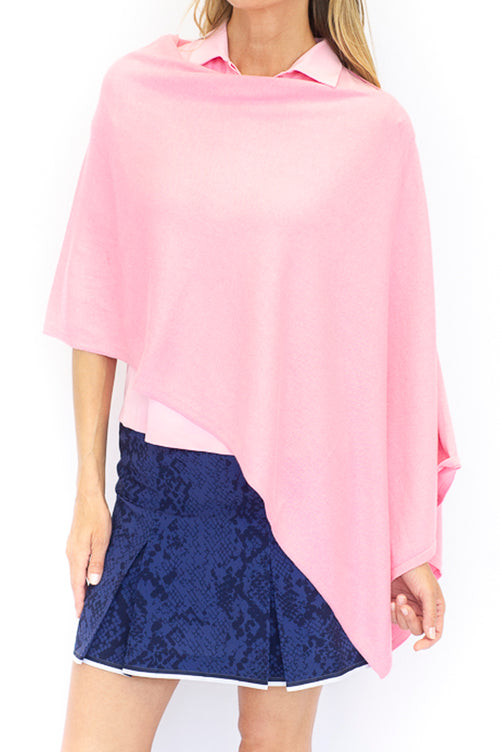 Cotton Cashmere Poncho - Light Pink