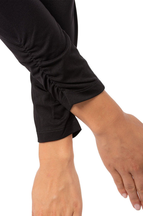 Black Long Sleeve Zip Stretch Polo