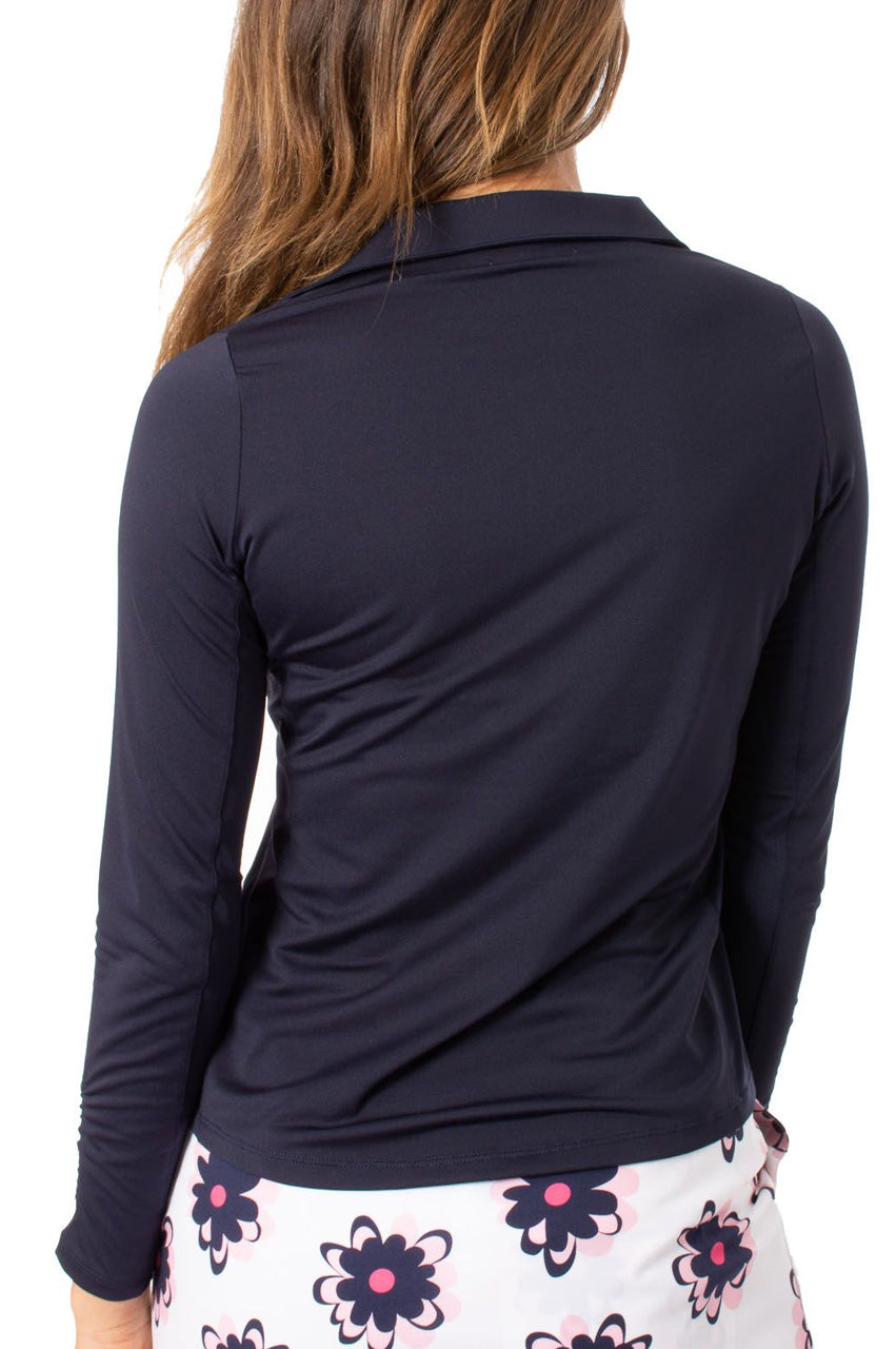 Navy Long Sleeve Zip Stretch Polo
