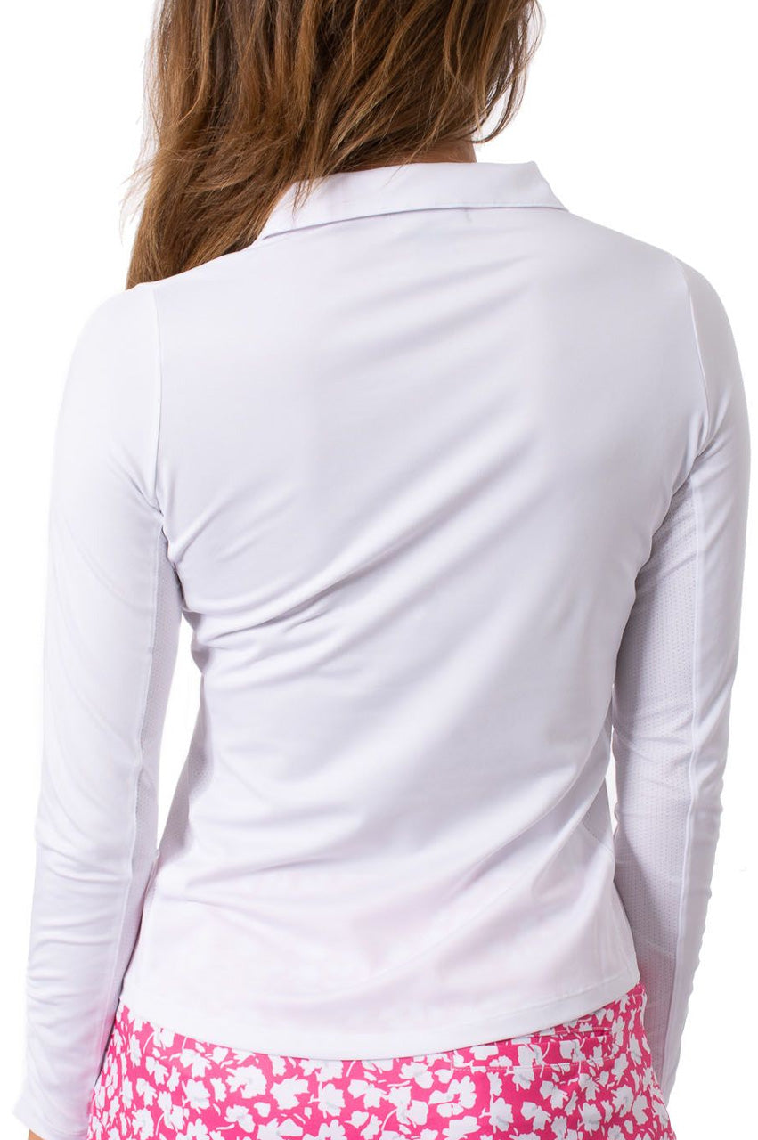 White Long Sleeve Zip Stretch Polo