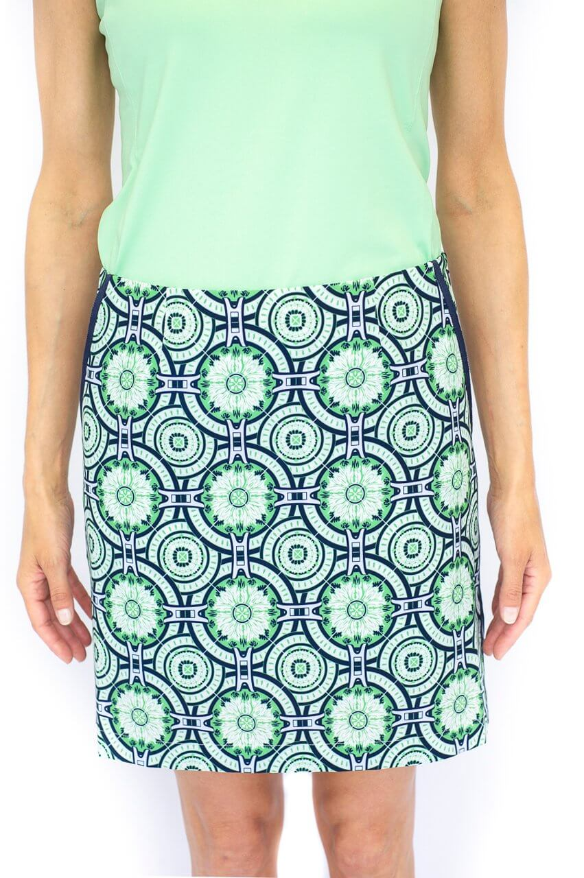 Green Medallion Performance Stretch Skort | Mint Julep | Available In 2 Lengths