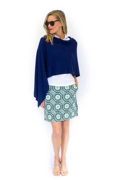 Cotton Cashmere Poncho - Navy