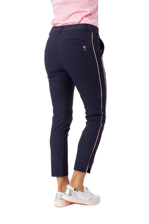 Navy with Light Pink Stripe Pull-on Stretch Ankle Pant