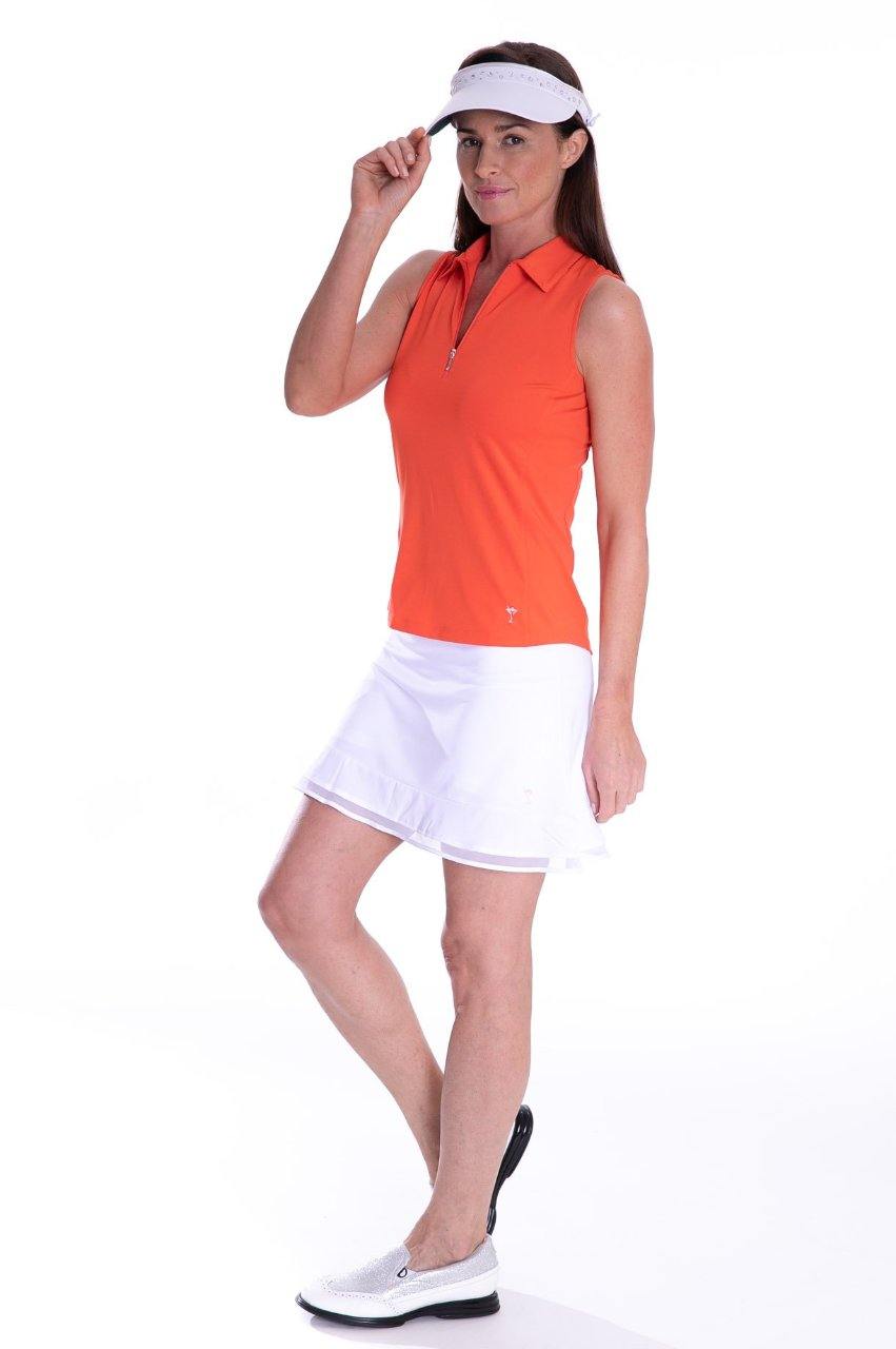 Classic Sleeveless Zip Tech Polo - Orange