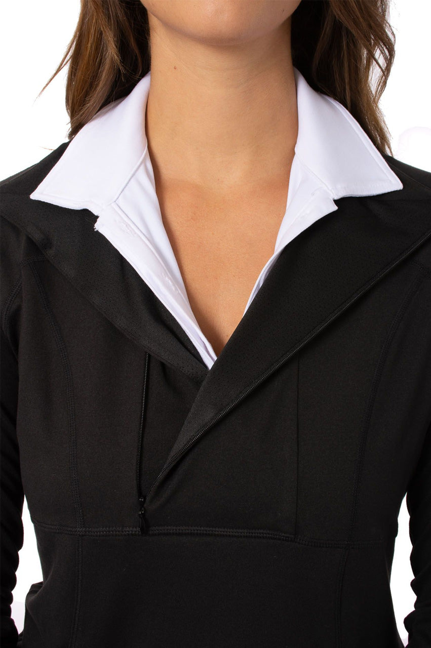 Black with White Contrast Quarter Zip Pullover