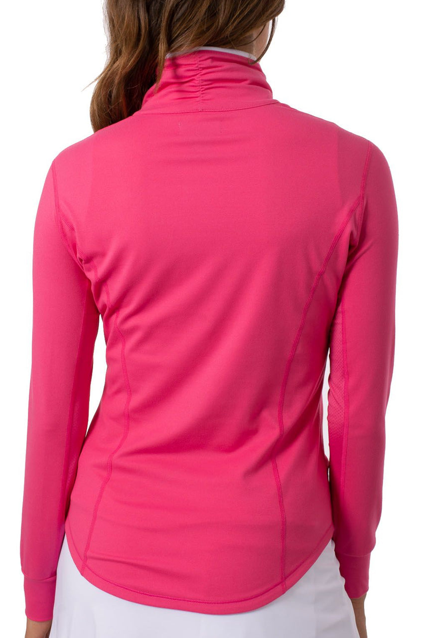 Hot Pink with White Contrast Quarter Zip Pullover