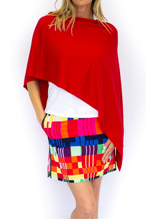 Cotton Cashmere Poncho - Red