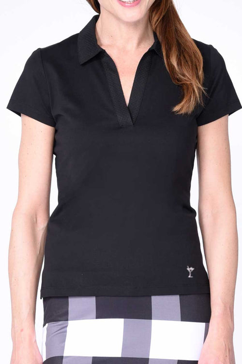 Black Short Sleeve Stretch Cotton Mesh Polo