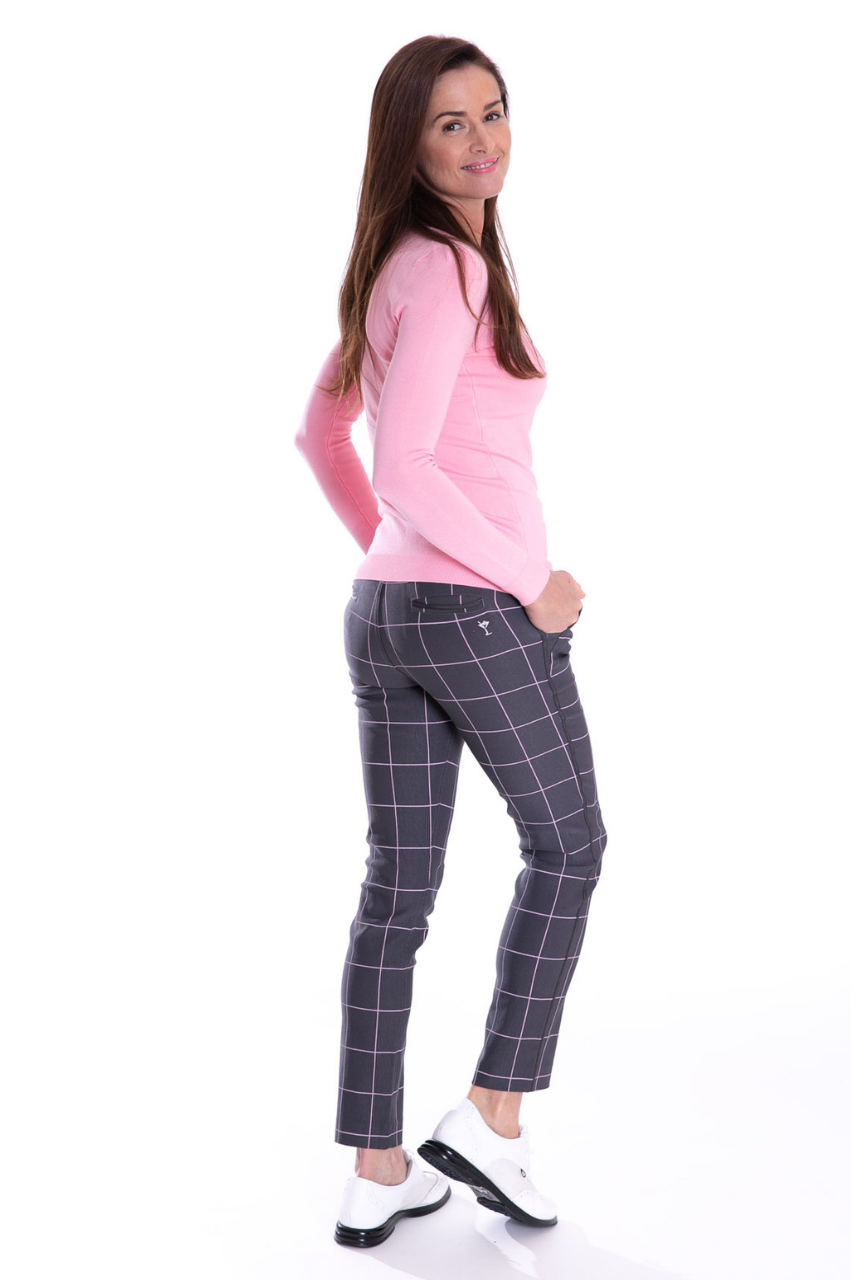 Trophy Pull-On Stretch Twill Pant - Grey/Light Pink