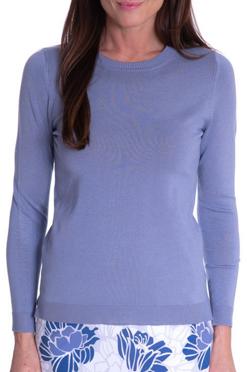 Dusty Blue Long Sleeve Crew Neck Sweater