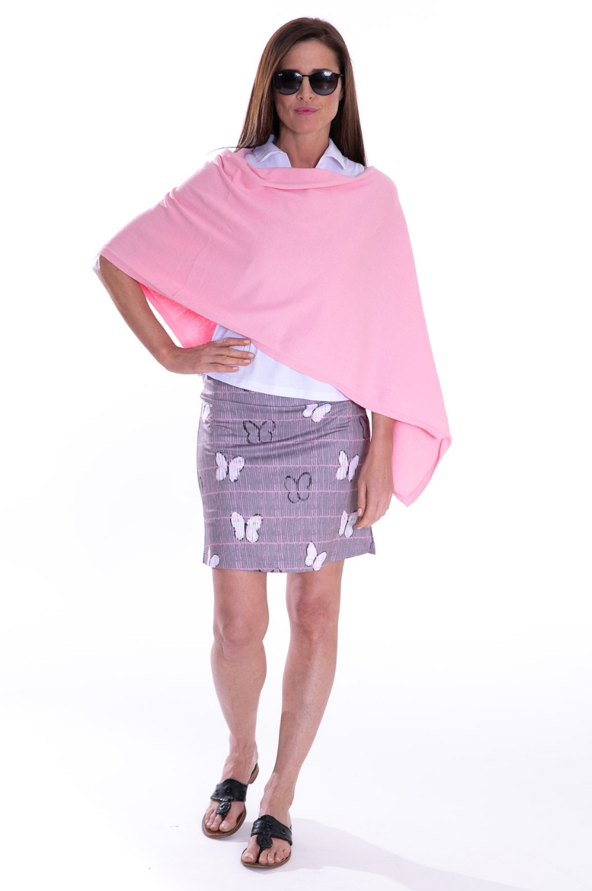 Light Pink Cotton Cashmere Poncho