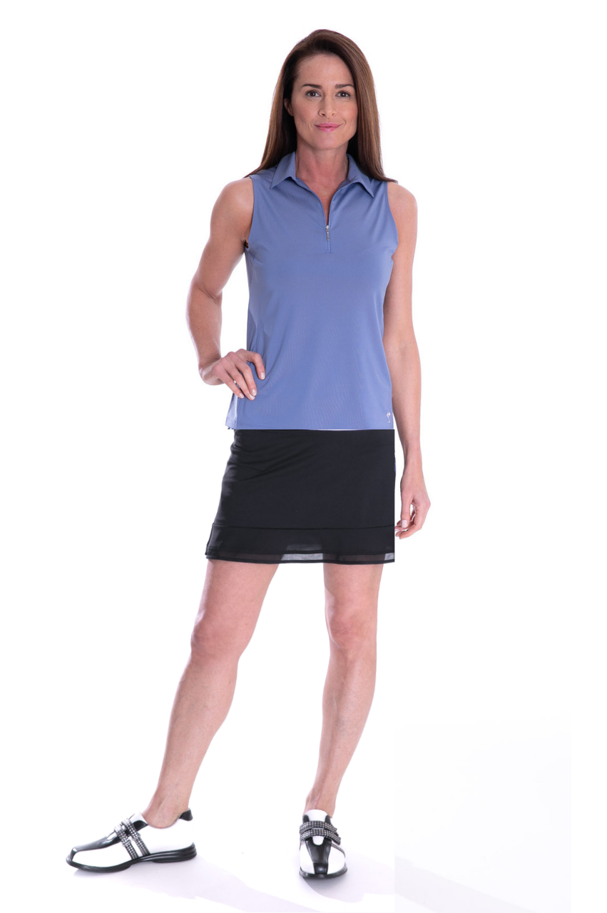 Dusty Blue Sleeveless Zip Stretch Polo
