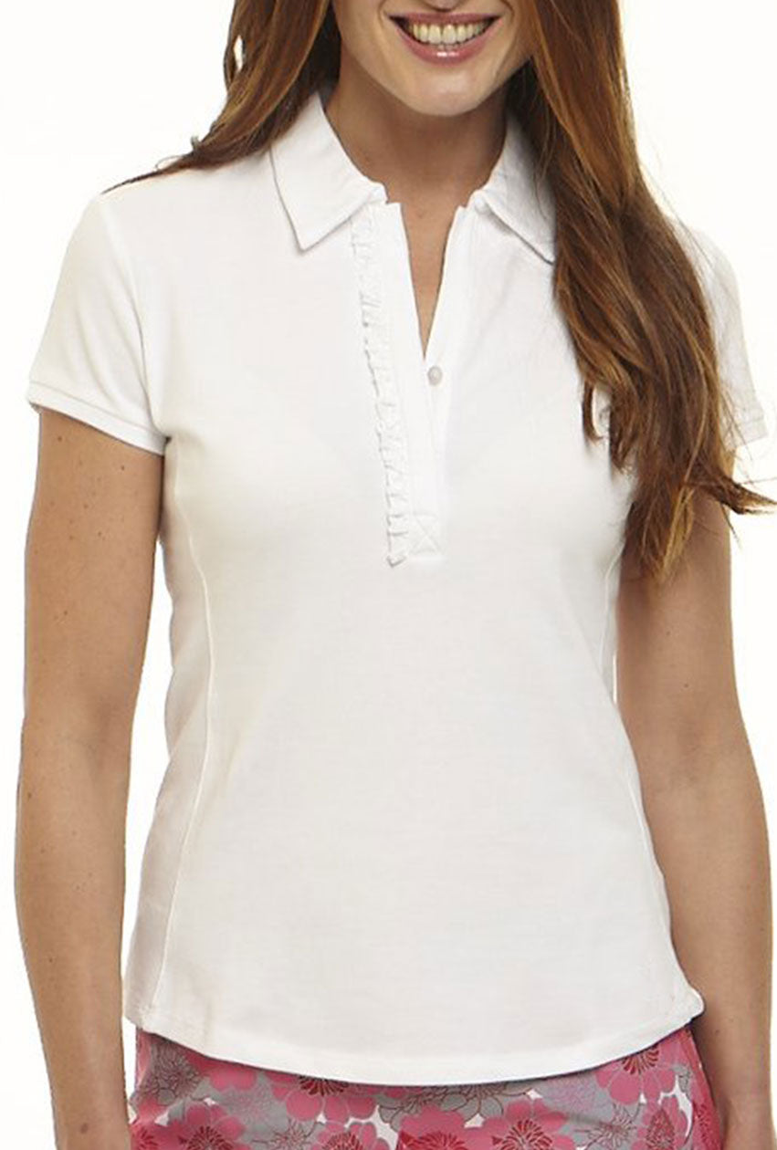 Short Sleeve Ruffle Polo Without Martini Logo Golftini