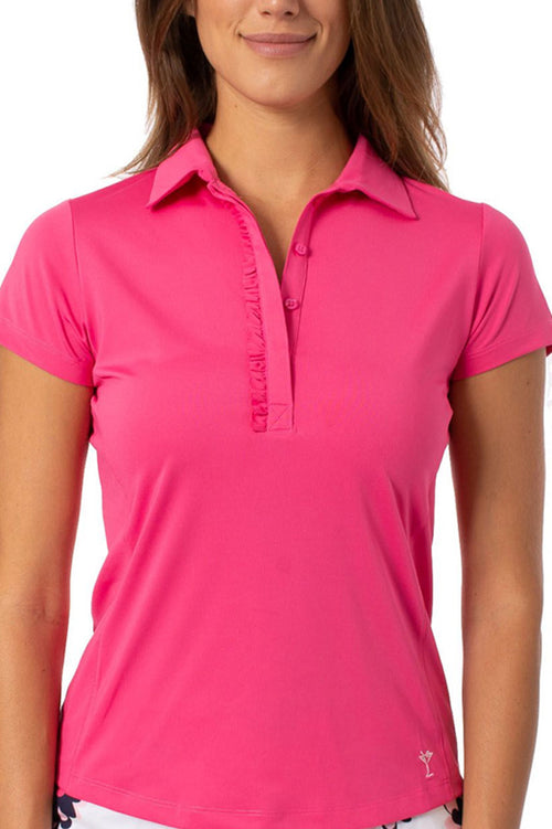 Hot Pink Short Sleeve Ruffle Stretch Polo