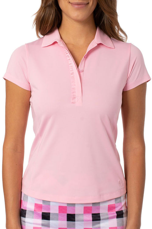 Light Pink Short Sleeve Ruffle Stretch Polo