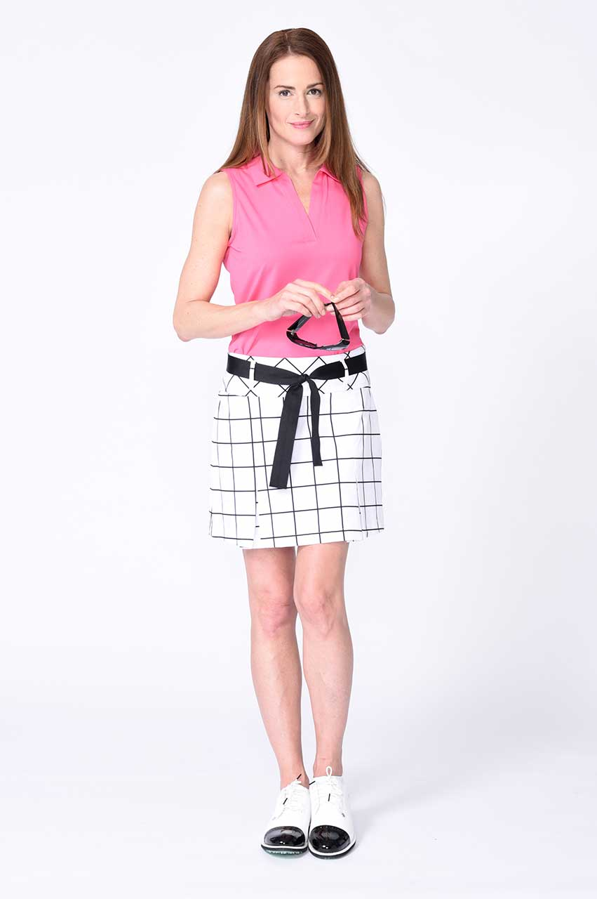 NEW! Sleeveless Cotton Mesh Collar Polo - Hot Pink