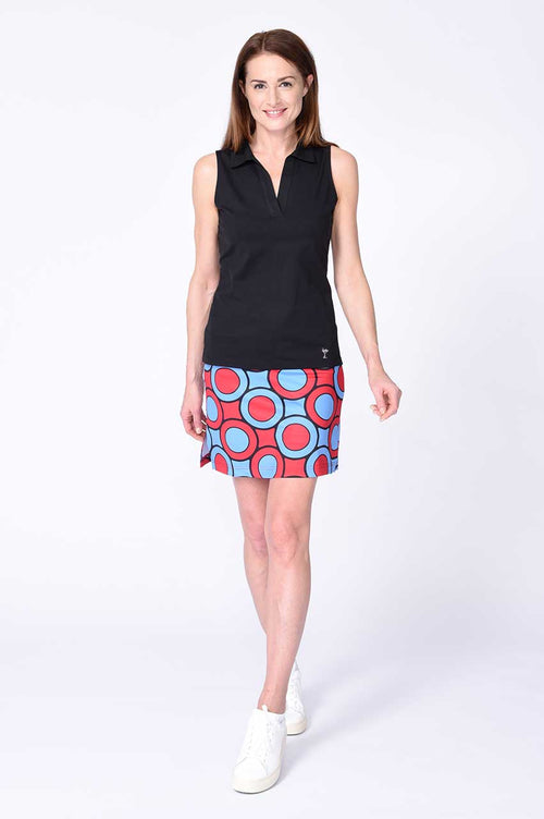Sleeveless Cotton mesh polo shown with Monopoly Pull-on Skort