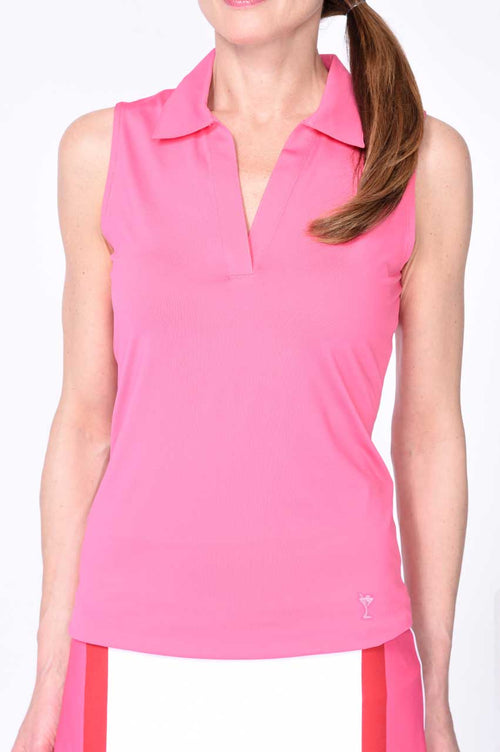 Hot Pink Sleeveless Stretch Cotton Mesh Polo
