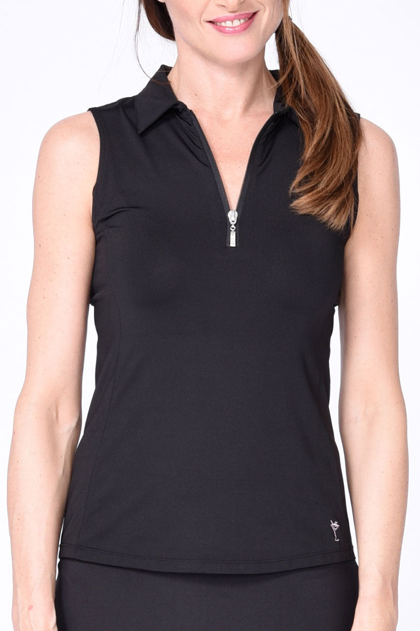 Classic Sleeveless Zip Tech Polo - Black