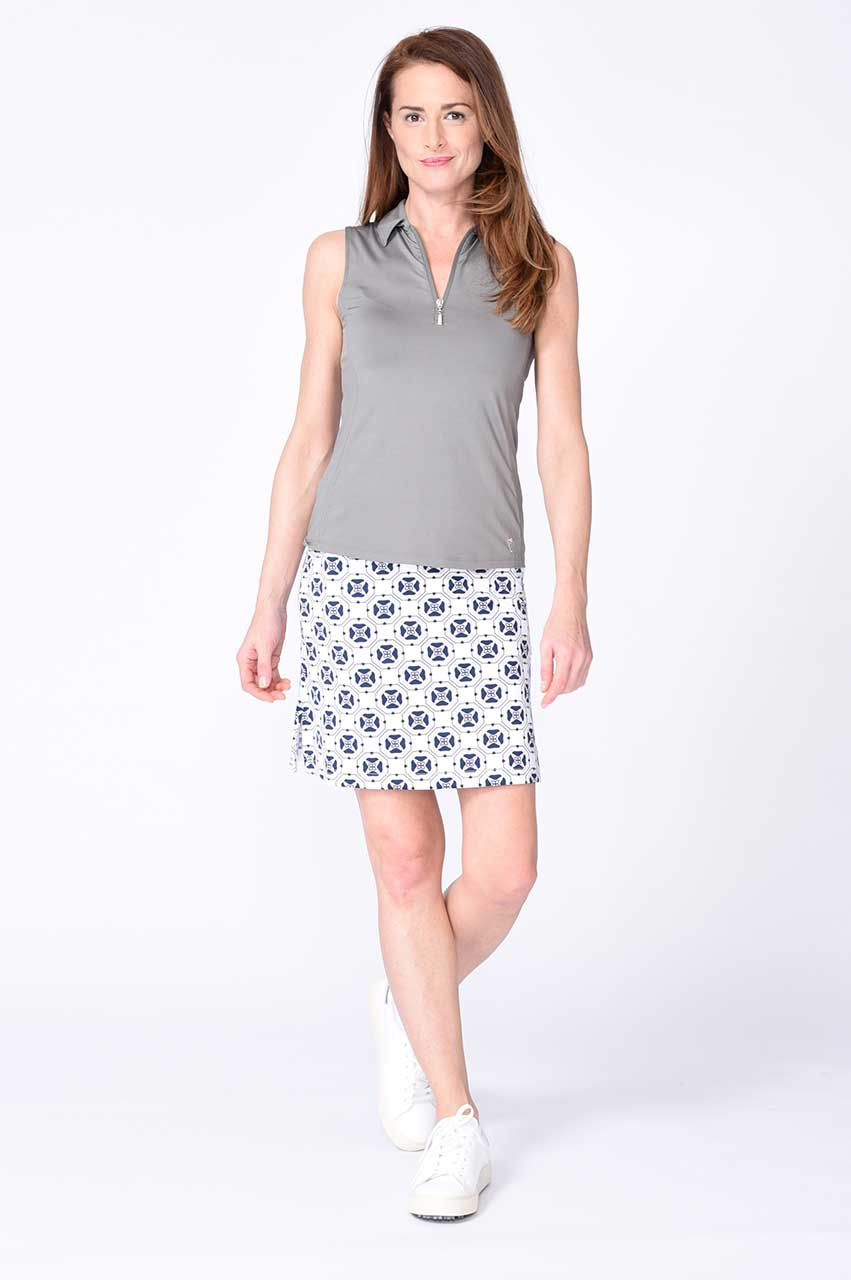 Grey Sleeveless Zip Stretch Polo