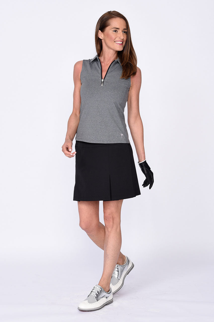 Sleeveless Zip Tech Polo - Heather Grey
