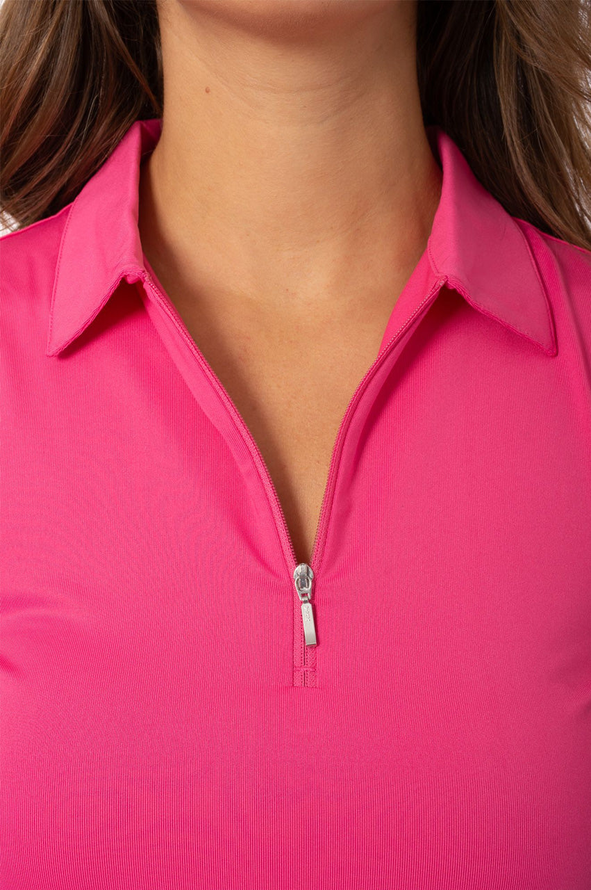 Hot Pink Sleeveless Zip Stretch Polo