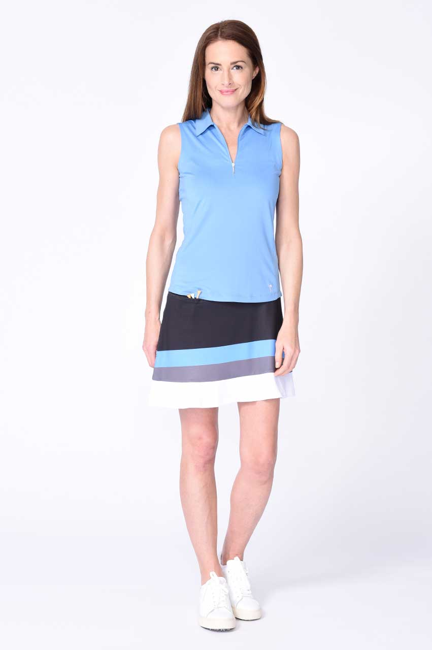 Blue Sleeveless Zip Stretch Polo