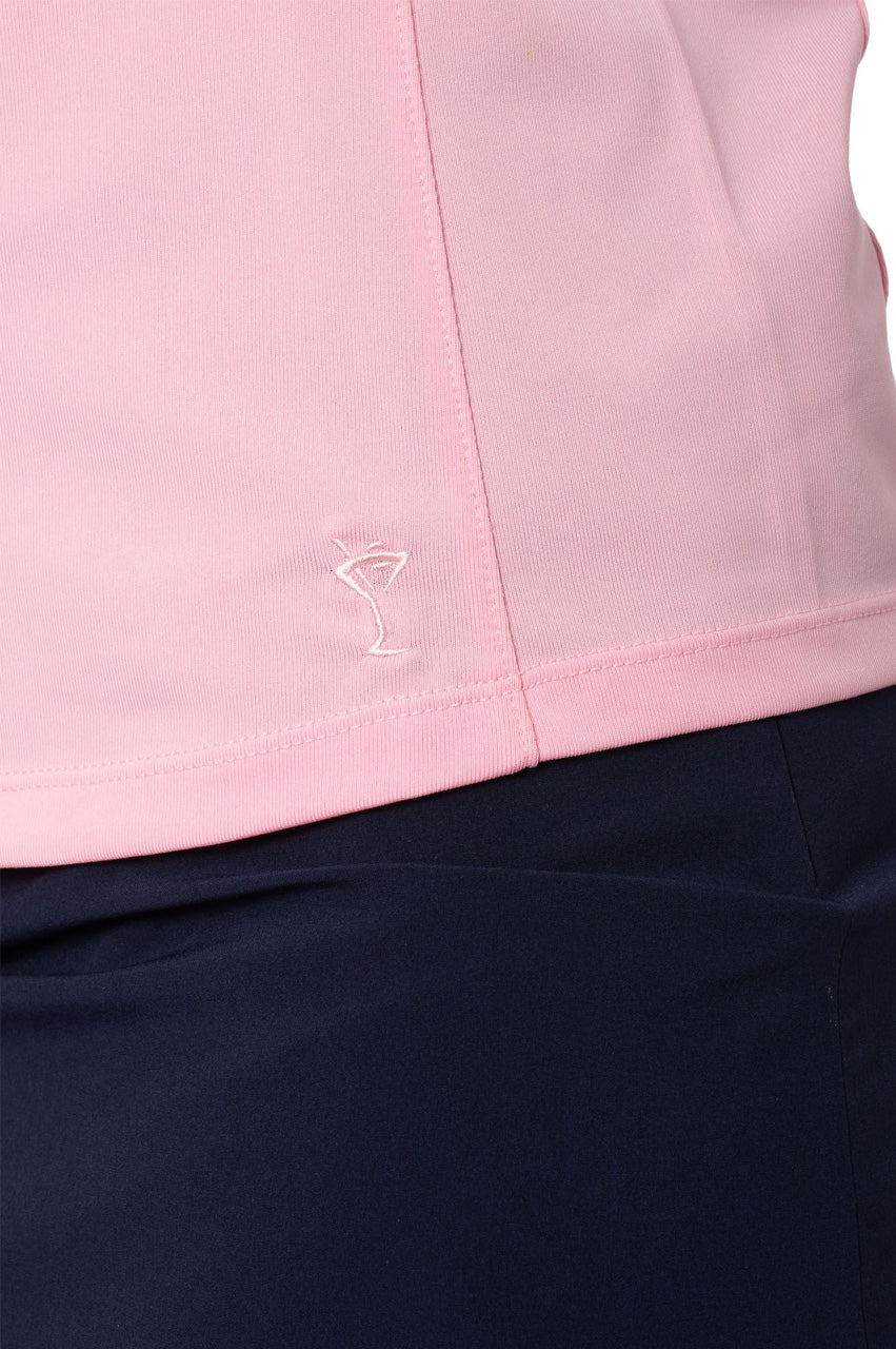 Light Pink Sleeveless Zip Stretch Polo