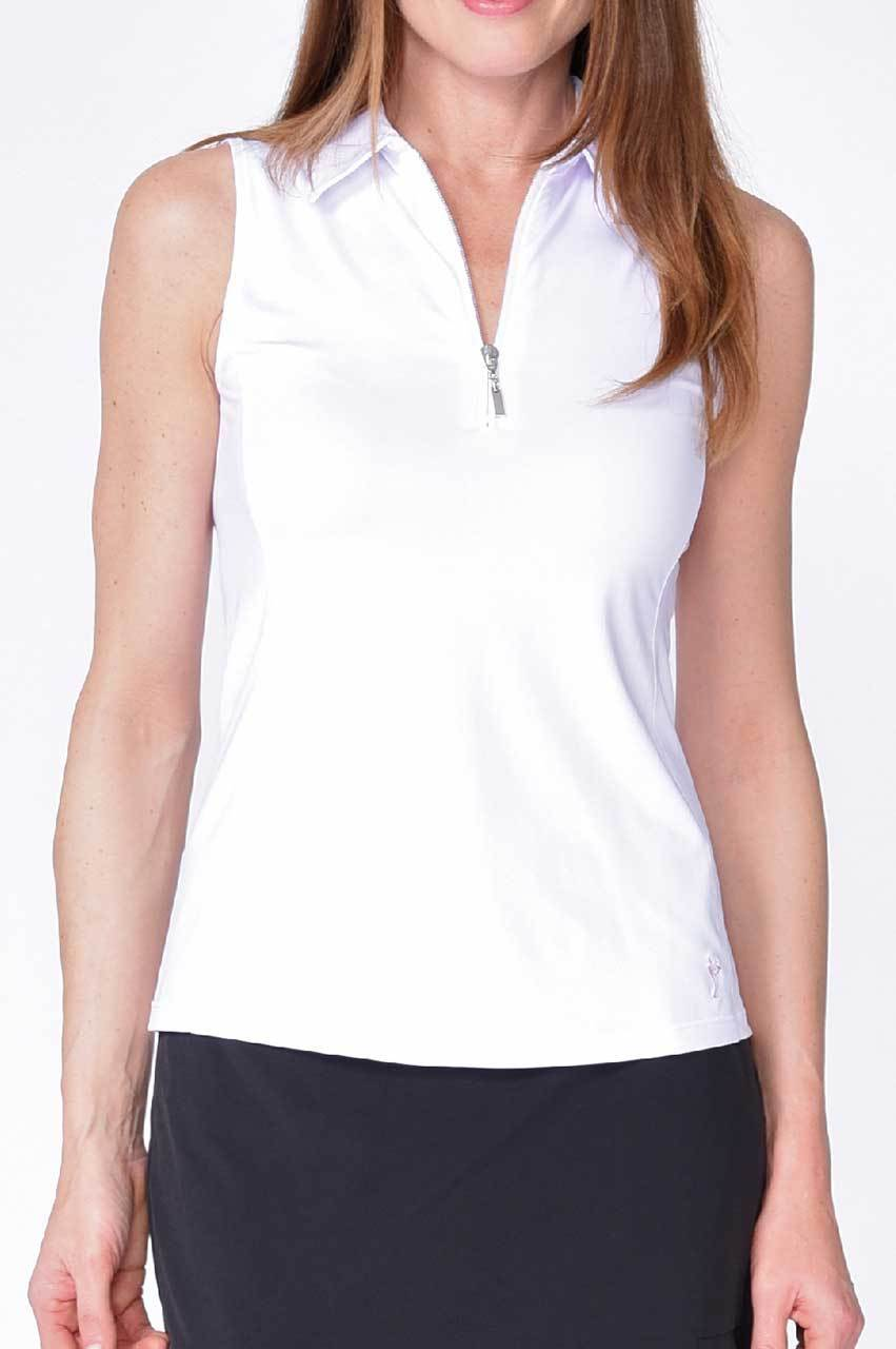 Classic Sleeveless Zip Tech Polo - White