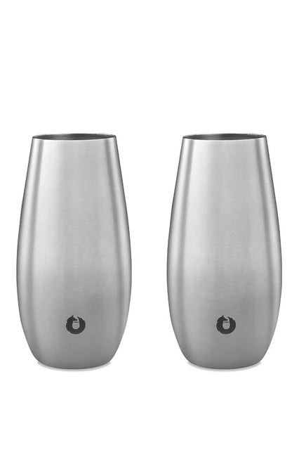 SNOWFOX Stainless Steel Stemless Champagne Flute (Set of 2)