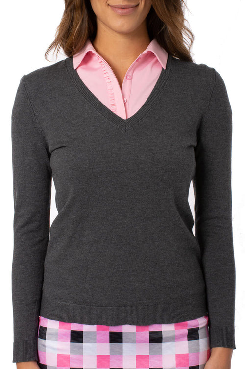Charcoal Grey Long Sleeve V-Neck Sweater