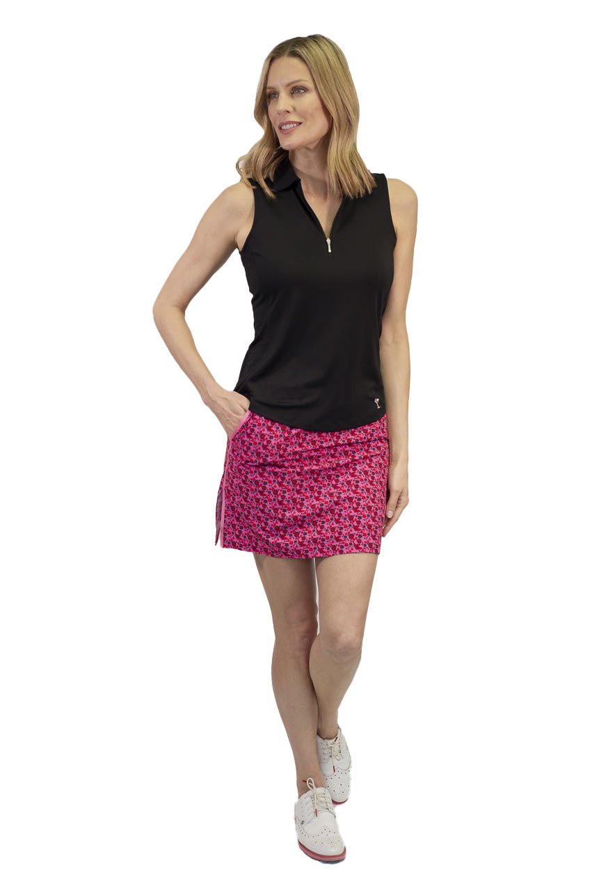 Women's hot pink light pink floral golf skort. Ladies performance designer golf skort by Golftini.