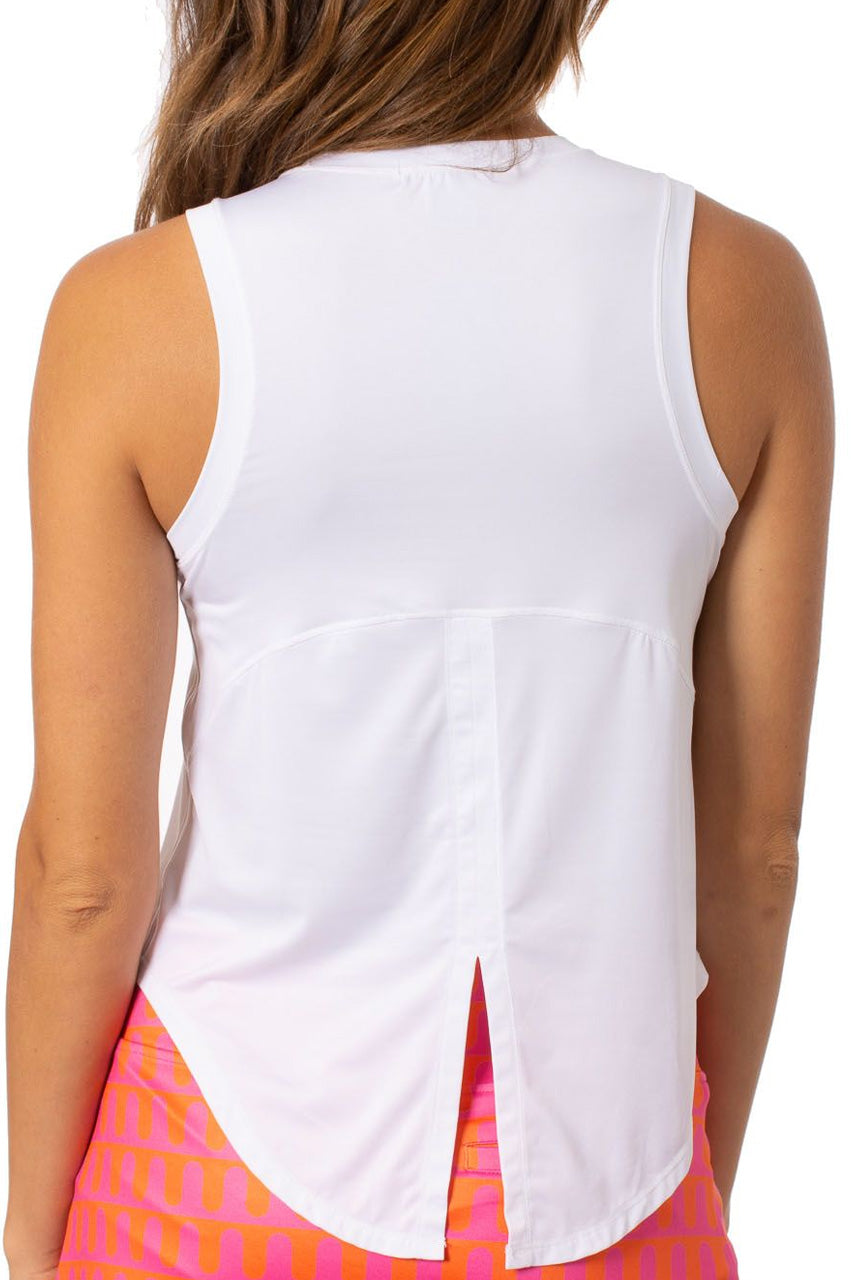 White Sleeveless Sport Stretch Tie Top