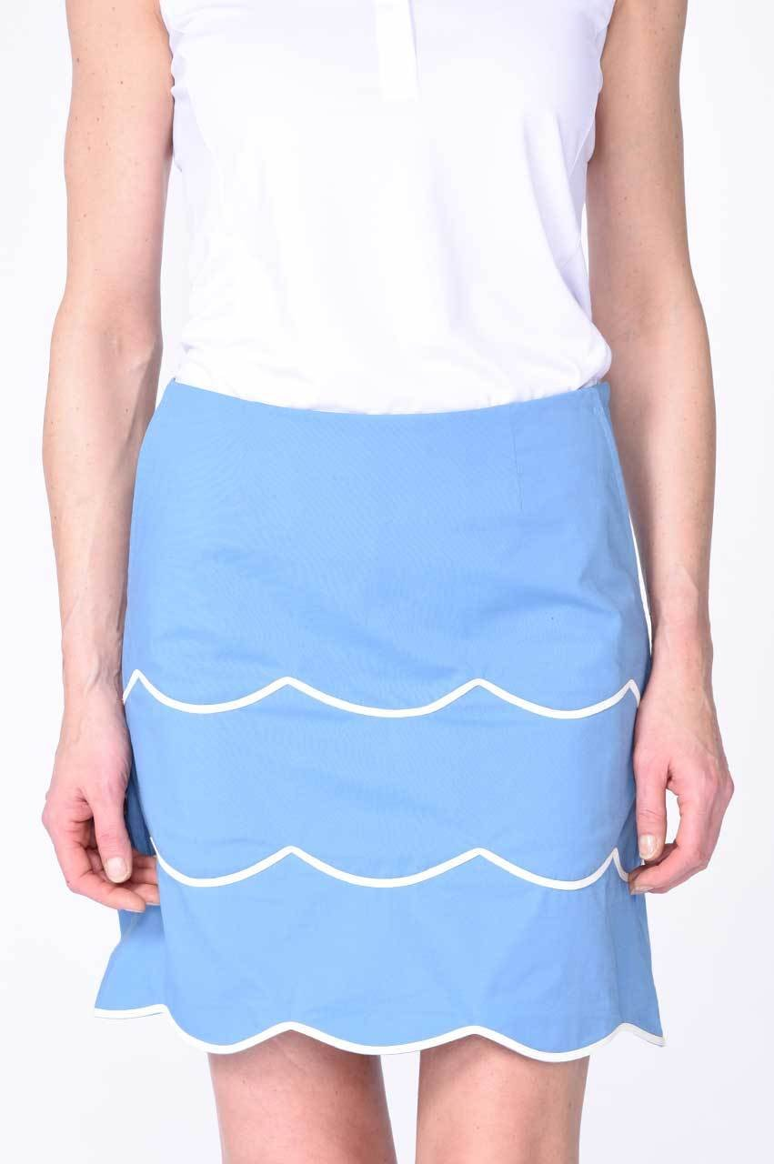 Light Blue Scallop Performance Stretch Skort | Tiffany Blue