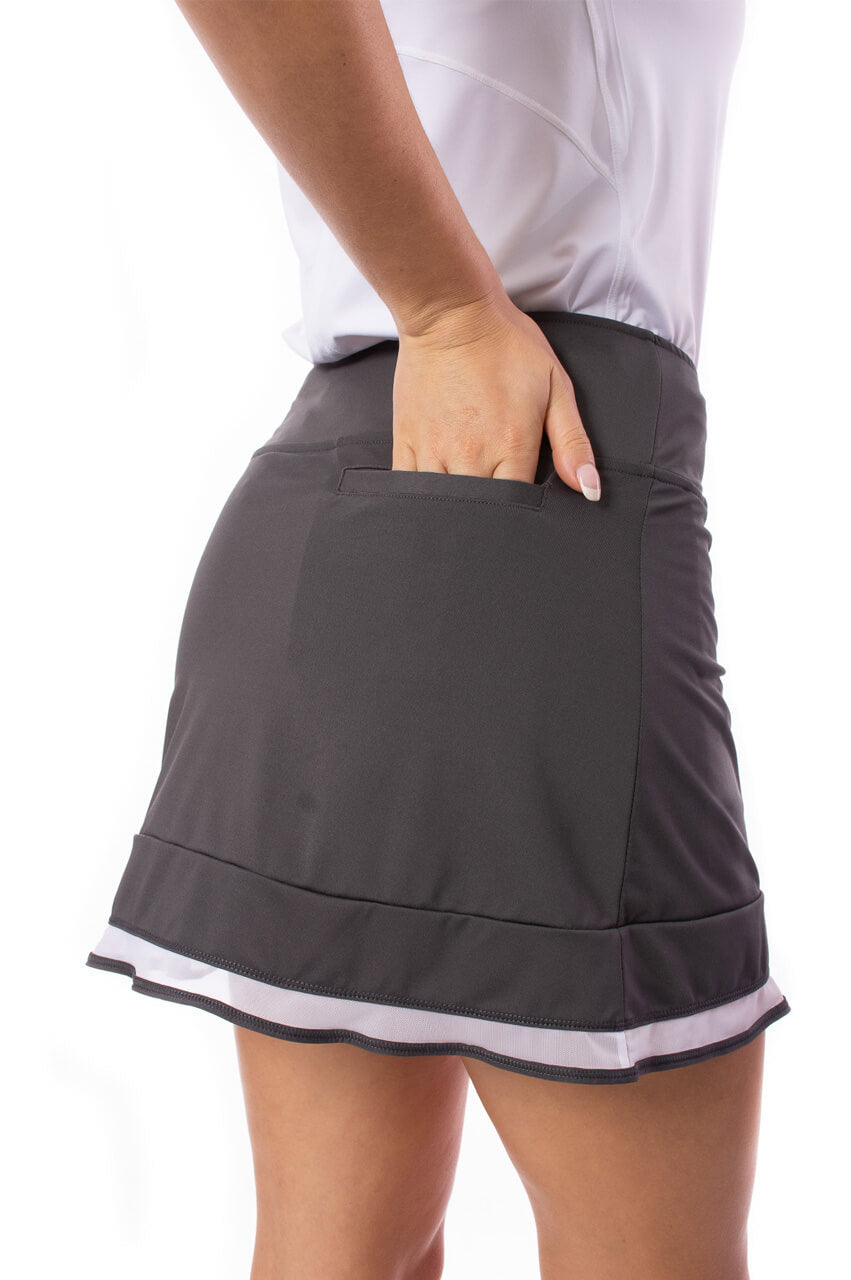 Charcoal Grey Pull-On Ruffle Stretch Skort | Top Golf