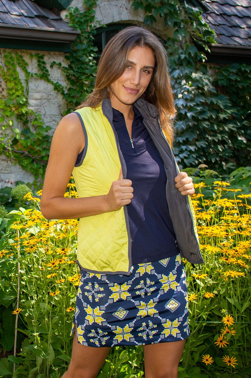 Navy & Yellow Medallion Pull-On Stretch Skort | The Traveler
