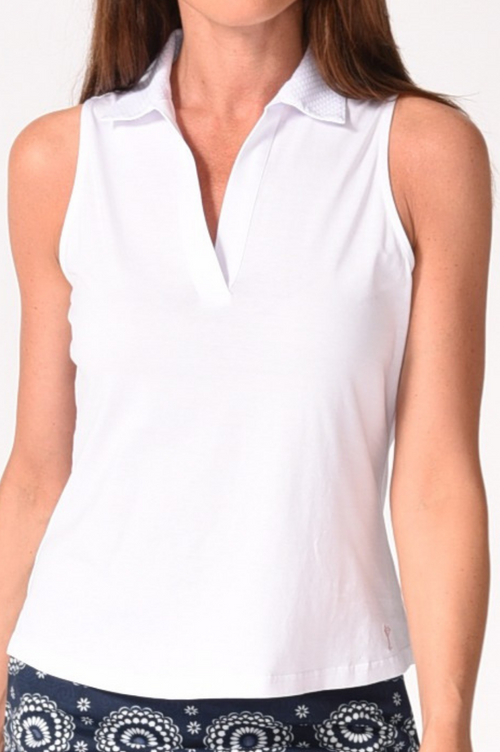 White Sleeveless Stretch Cotton Mesh Polo