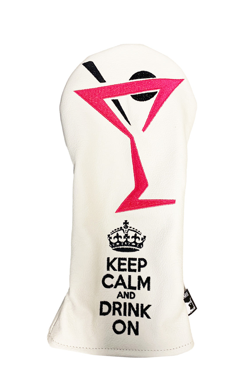 Premium Leather Dormie Driver Headcover | Keep Calm & Drink On