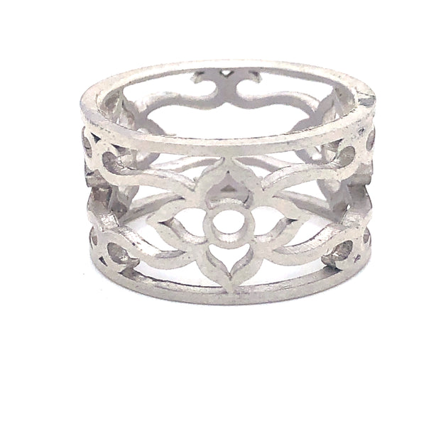 Flower & vine ring sterling silver