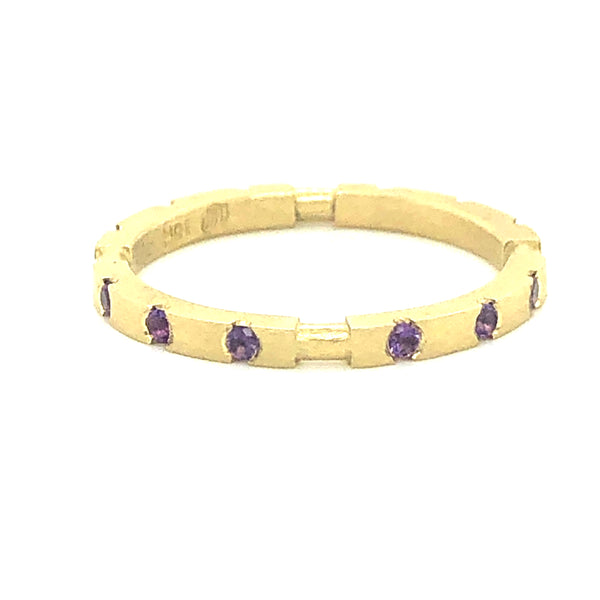 18K Square Stackable ring with Amethyst