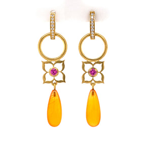 Pink Sapphire Flowers with Orange Chalcedony drops