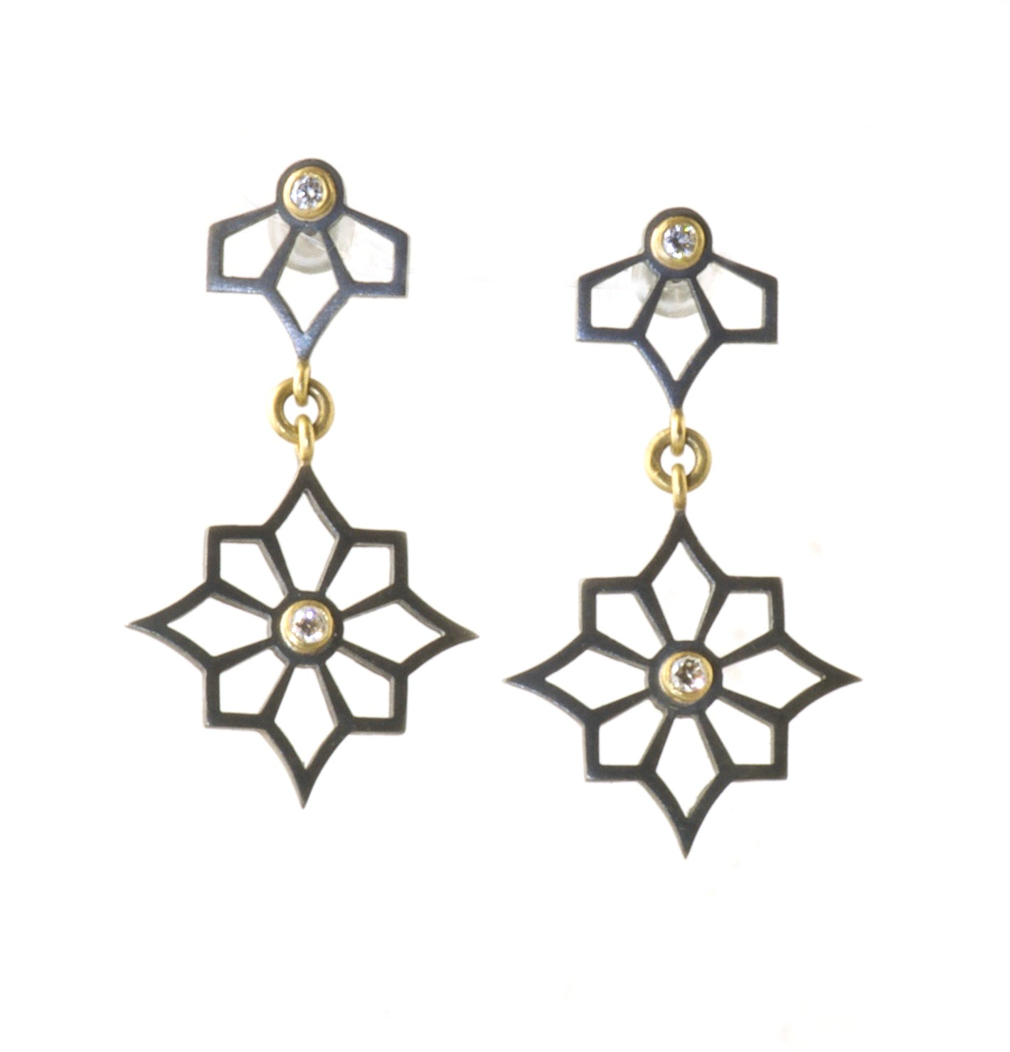 2 star Sterling Silver & 18k earrings with diamonds