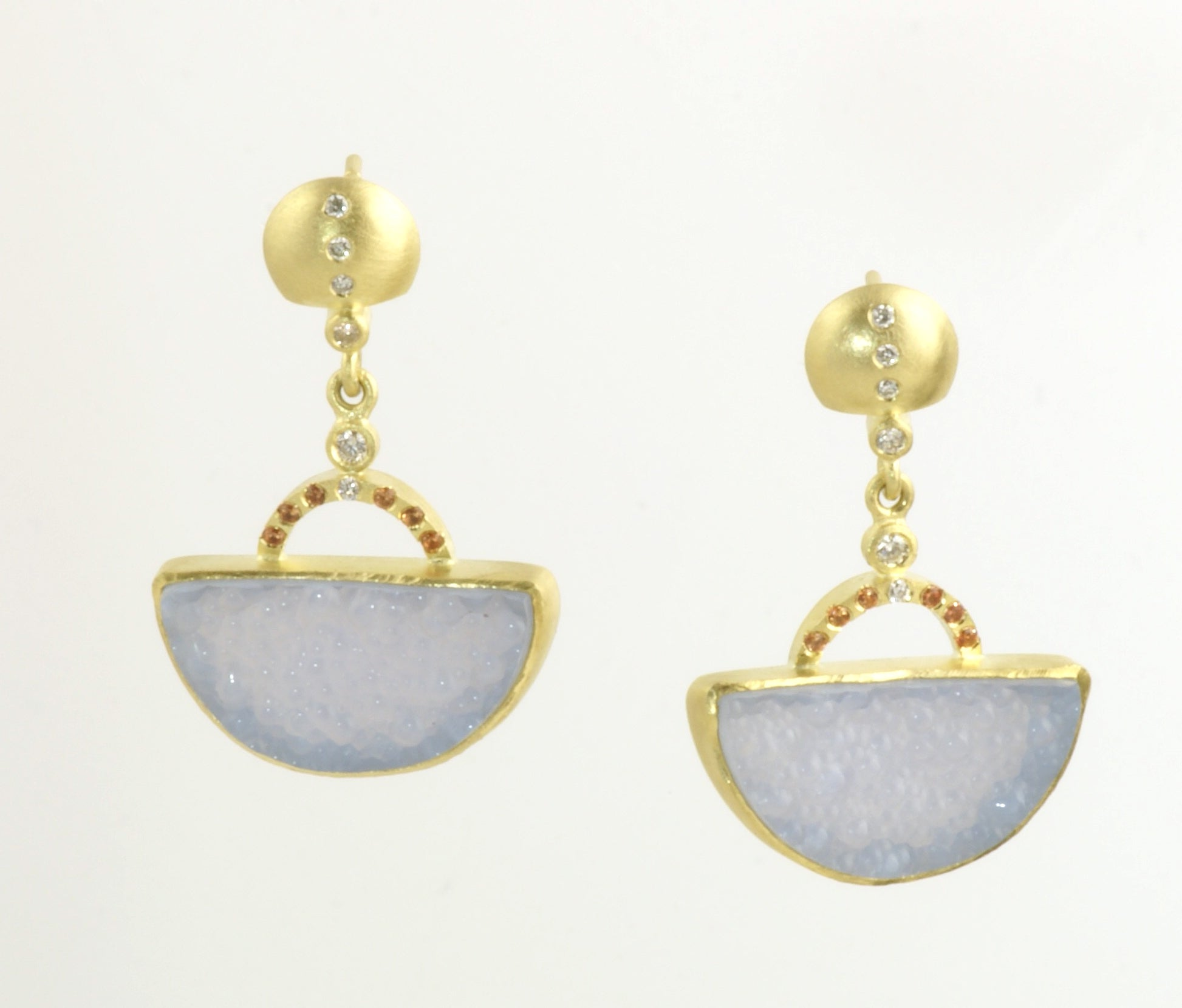 Half round Blue Chalcedony earrings