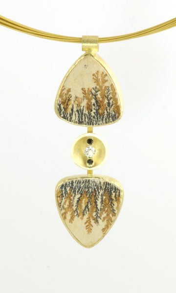 DENDRITIC LIMESTONE REFLECTION PENDANT