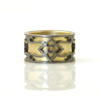 Flower & vine ring sleeved & oxidized