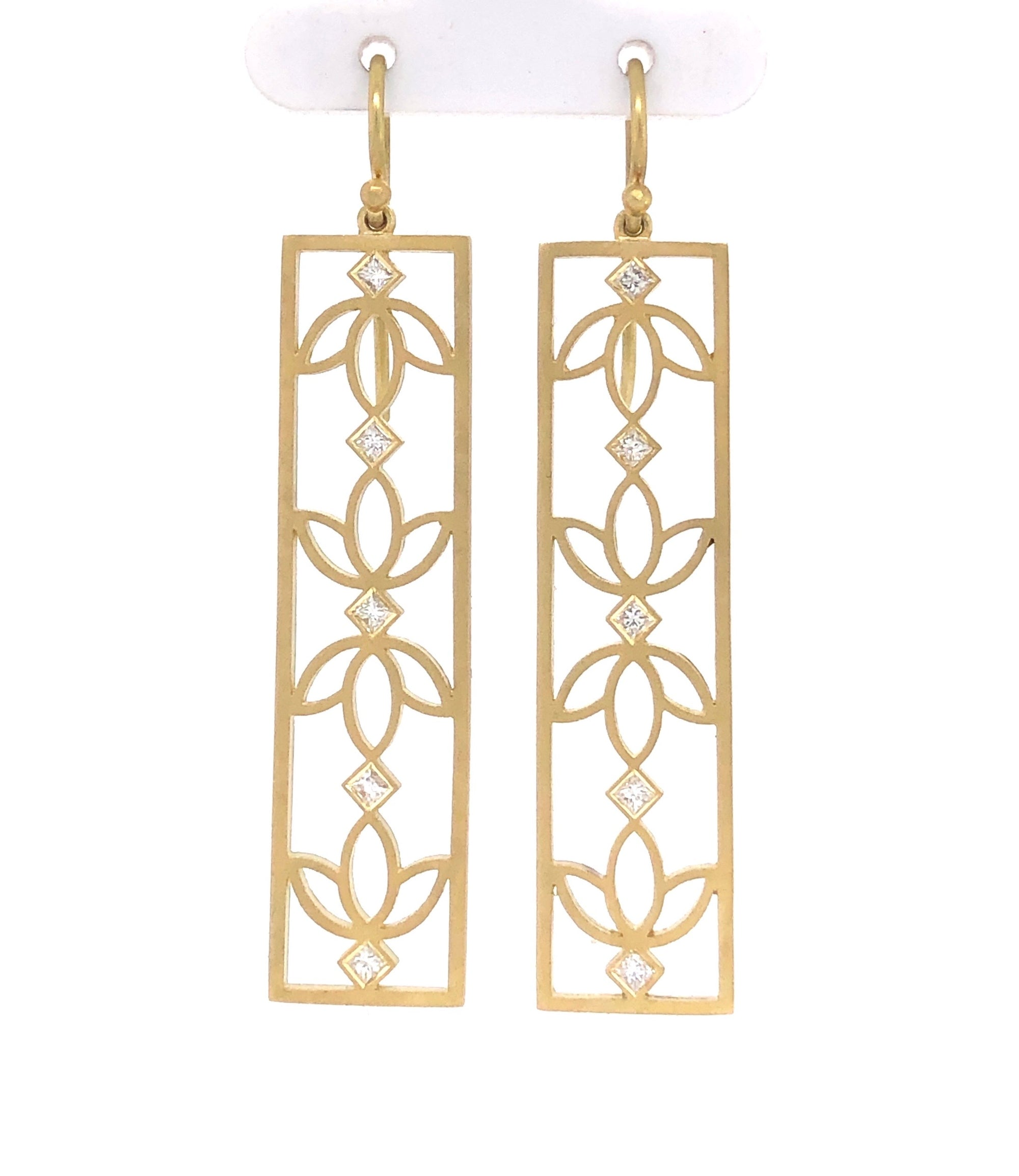 18K Floral Panel Earrings with Diamonds