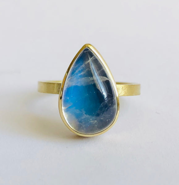 Large Moonstone drop ring