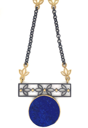 Lapis Tulip panel Necklace