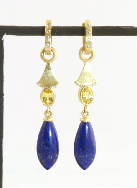 Yellow Sapphire and Lapis earrings